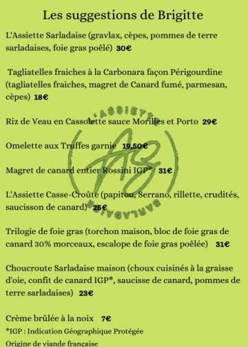 Suggestions d'automne dans votre restaurant à Sarlat